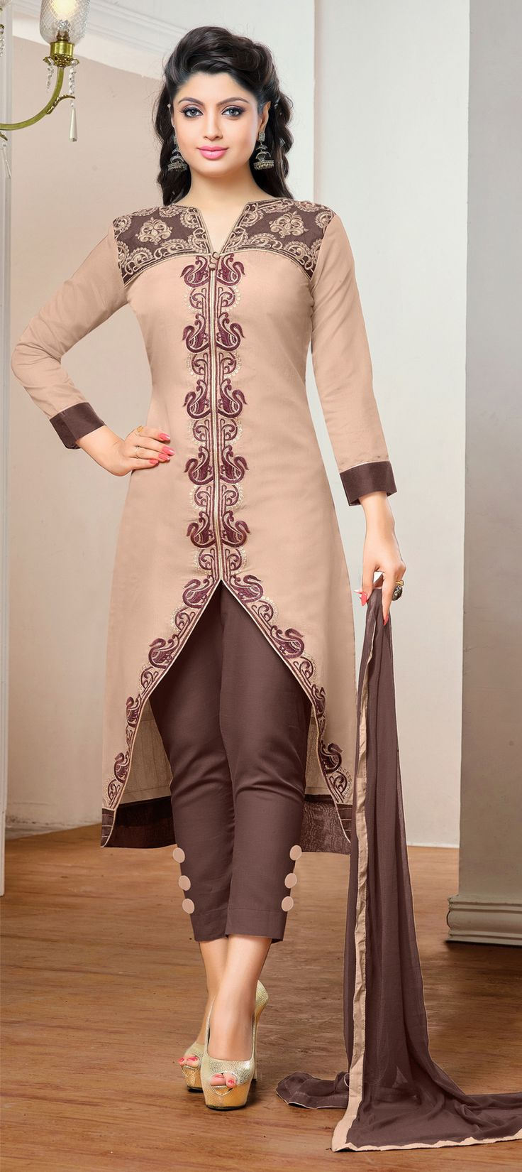 458382: Beige and Brown color family stitched Cotton Salwar Kameez,Party Wear Salwar Kameez .