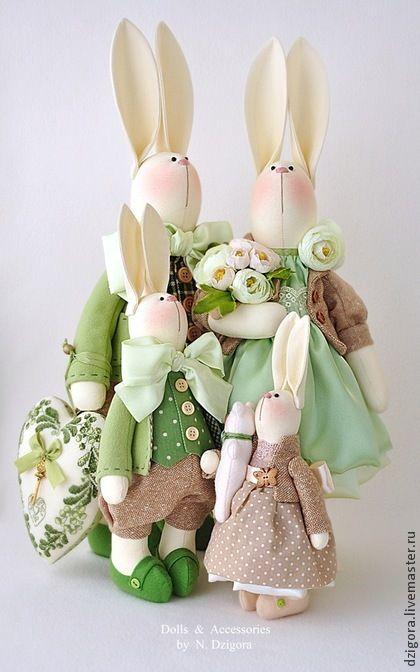 Семейство кроликов. Handmade. #toy #tilda #rabbits