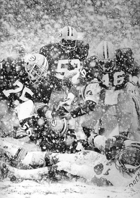 Green Bay Packers playing in the snow