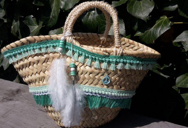 DIY pakket mini Ibiza tas pimpen turquoise