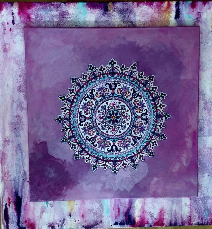 Mandala 80x80 acrílicos sobre  lienzo, energía y color