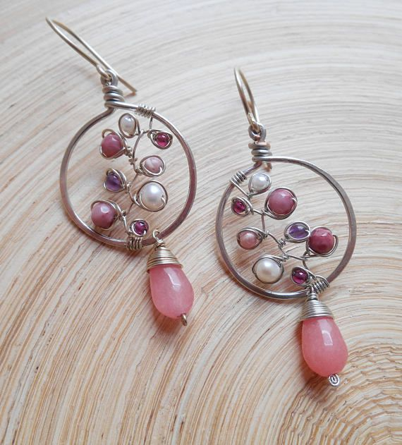 Rose quartz earrings sterling silver wire wrapped pink gemstone Valentine/'s Day Wedding Anniversary Gift