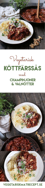 Här bjuder vi på vårt bästa recept på vegetarisk köttfärssås! Svamp i form av champinjoner står för fylligheten & får uppbackning av valnötter.
