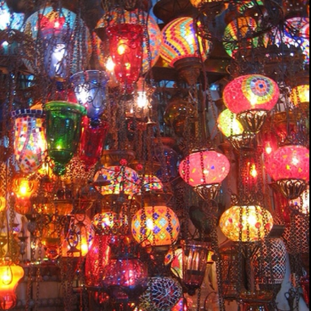Inspiration for a girls retreat or fancy bachelorette party. Beautiful lanterns by the multitude!