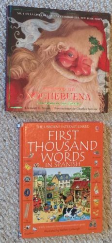 """Lot of 2 Hard Cover Spanish Language books, including;  (1) """"Cuento De Nochebuena"""", Printed beautifully in color; in good used vintage condition, Hardcover with Dustjacket,   (1) """"The Usborne Internet-Linked First Thousand Words in Spanish,"""" Printed beautifully in color; in acceptable to good used vintage condition."""