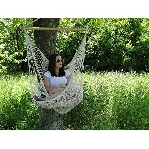 Large Hammock Cotton Chair Swing Patio Hanging Rope Lounge Seat Outdoor Garden #HammockChairSwing
