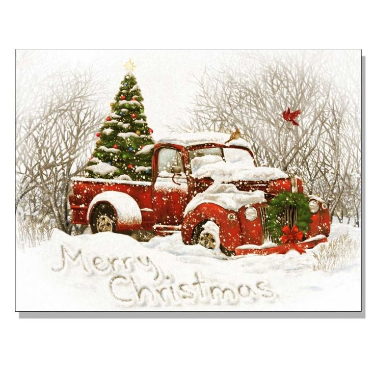 Light up Christmas canvas decor of an old red pick up truck with a christmas tree in the back