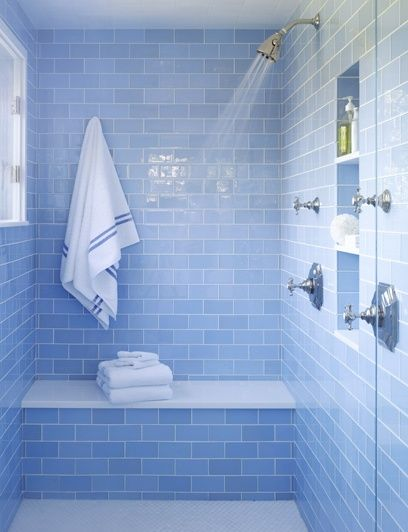 Blue tiles with white. Double shower with seat and towel hook. faces window
