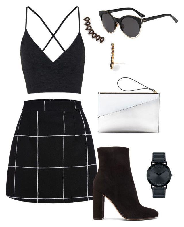 """""""Black and White"""" by shaeelee ❤ liked on Polyvore featuring Topshop, Gianvito Rossi, Christian Dior, BaubleBar, Movado, Marni, women's clothing, women's fashion, women and female"""