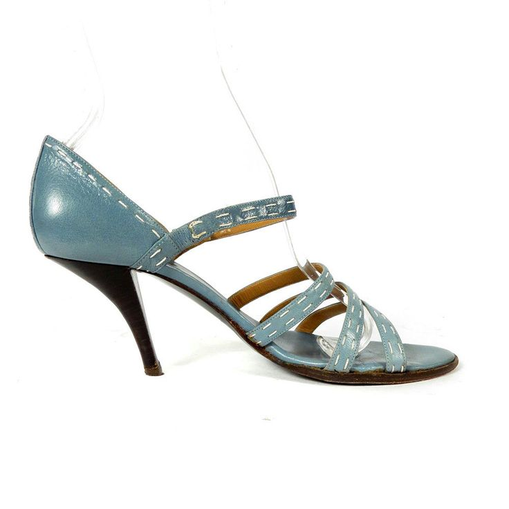 Vintage Hermes Light Blue White Strappy High Heels Sandals IT 36.5 US 6 #Hermes #Strappy