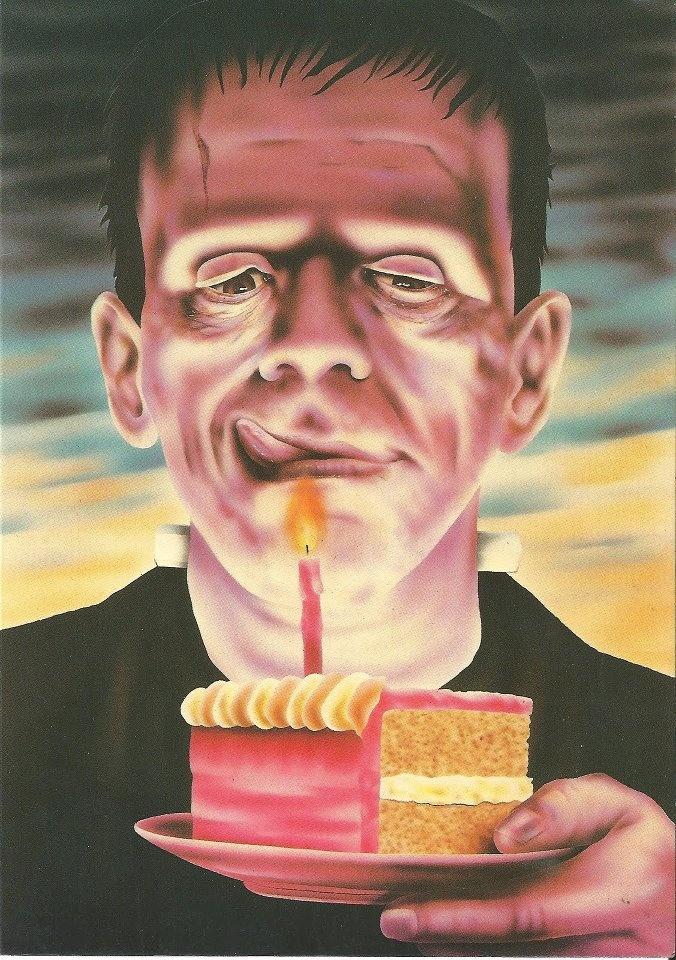 Very cool vintage retro photo Frankenstein and birthday cake.