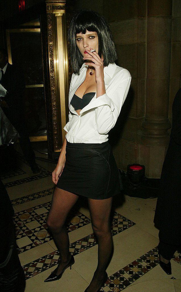 Carmen Kass As Mia Wallace from Pulp Fiction at the Dolce & Gabbana Halloween party in New York in 2002.