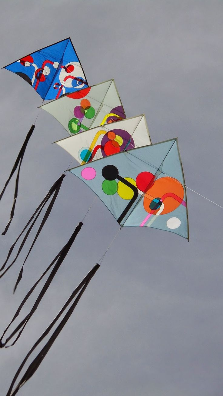 Another delightful train of Delta kites by Trevor Reeves. The abstract art might be wasted on many kite-fanciers though. Bright contrasting panels are enough for them! T.P. (my-best-kite.com)