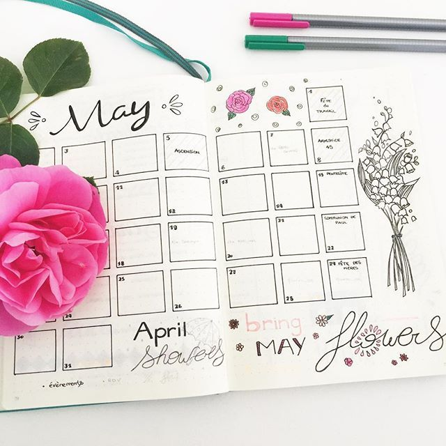April showers bring May flowers... Roses & Lily of the Valley. #may #bulletjournal #bulletjournaling #bujo #planneraddict #rose #lilyofthevalley #muguet #mai #leuchtturm1917