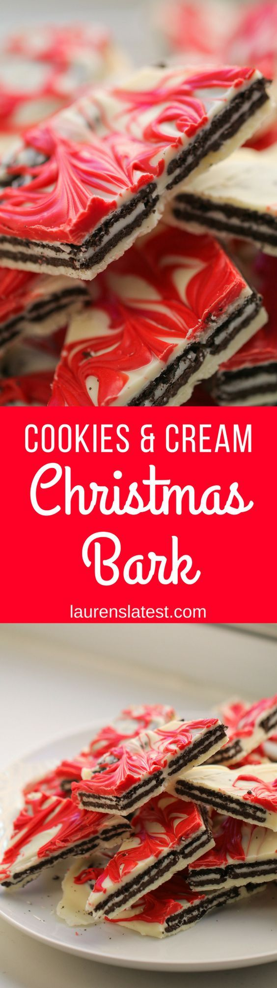 Cookies and Cream Christmas Bark A simple, three ingredient Christmas bark featuring OREOS! This is the ultimate, no-bake holiday treat.