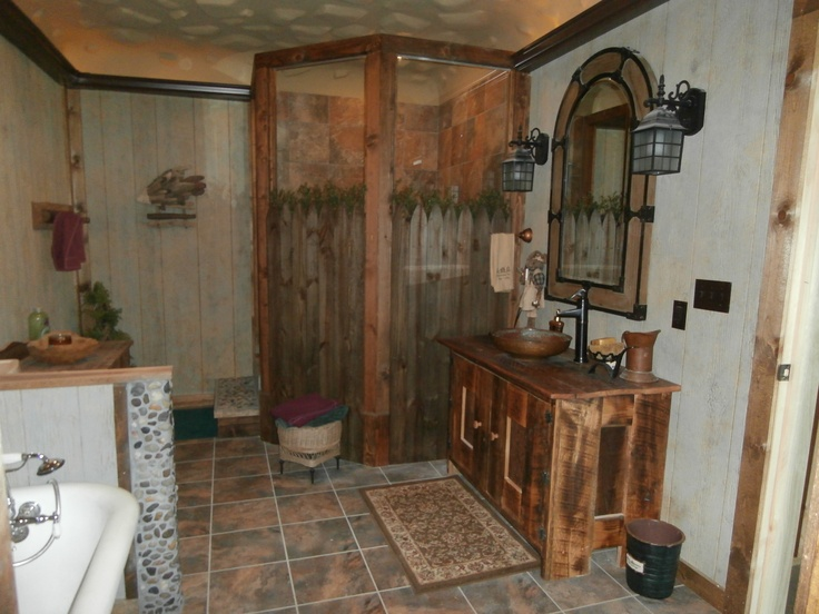 Rustic Bath With Picket Fence Stone Shower Copper Bowl