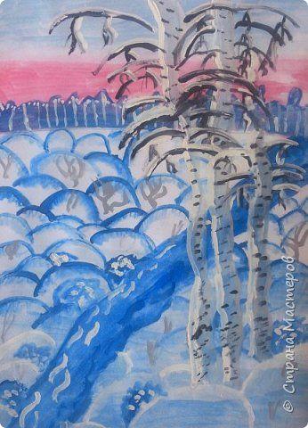Зимний пейзаж по МК Ольги Уралочки http://stranamasterov.ru/node/1062681?c=favorite Работы детей 4 класса. фото 14