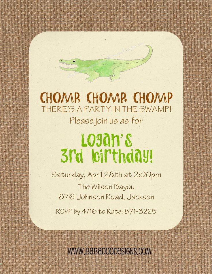 Alligator, Crocodile or Swamp Party Birthday Party Baby Shower Alligator Invitation Swamp Invitation www.BabadooDesigns.com