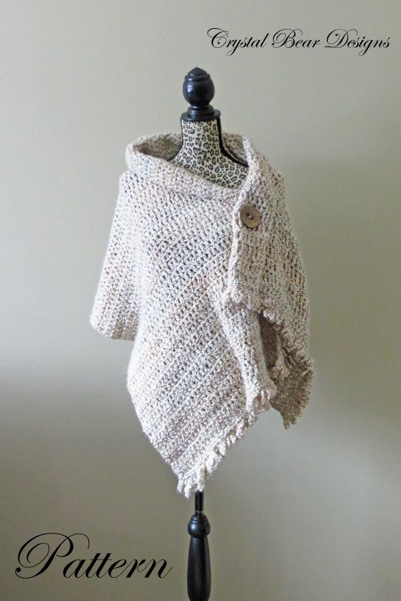 "Crochet Shawl PATTERN / Button Wrap / Poncho / Easy Beginner / PDF Pattern / Made in Canada / ""Dresden Wrap"""