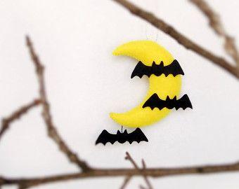Halloween adornos fieltro miedo Luna y murciélagos colgantes decoración Halloween regalo peluche espeluznante espeluznante vacaciones Linda decoraciones noche amarillo Luna
