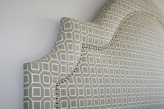 . DIY headboard. I like the stitching....for our bedroom. The nailhead trim is awesome!