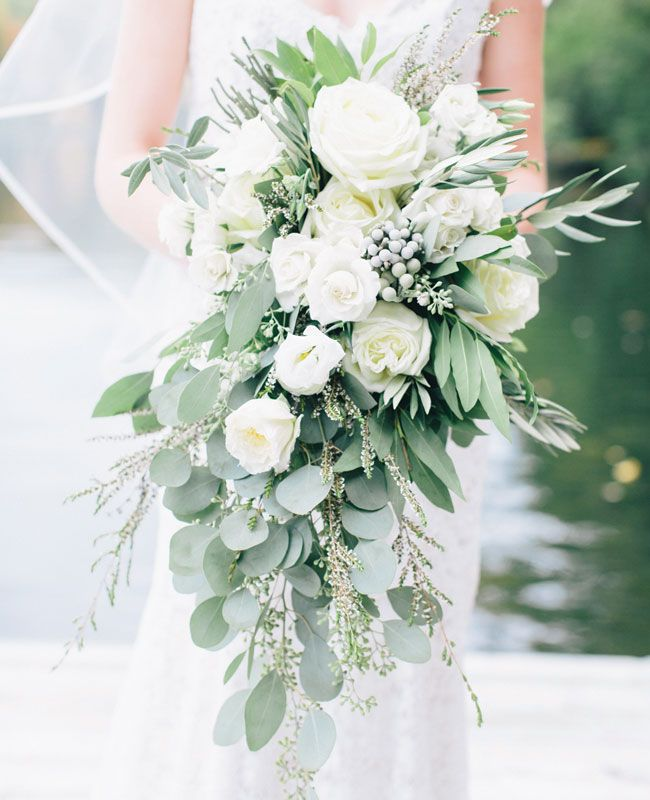 Eucalyptus, Berries and White Rose Cascading Bouquet. | Corbin Gurkin Photography | Blog.theknot.com
