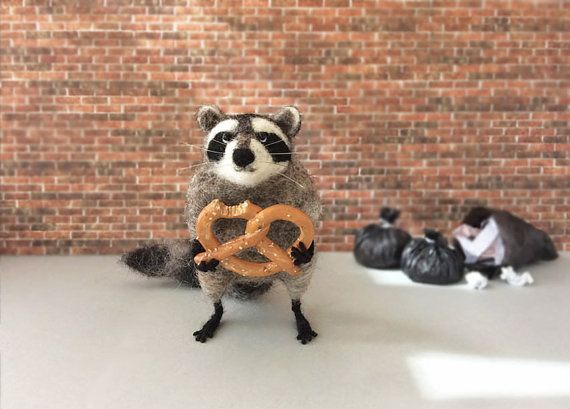 Needle Felted Raccoon Miniature Raccoon with by GentlySpokenFriend