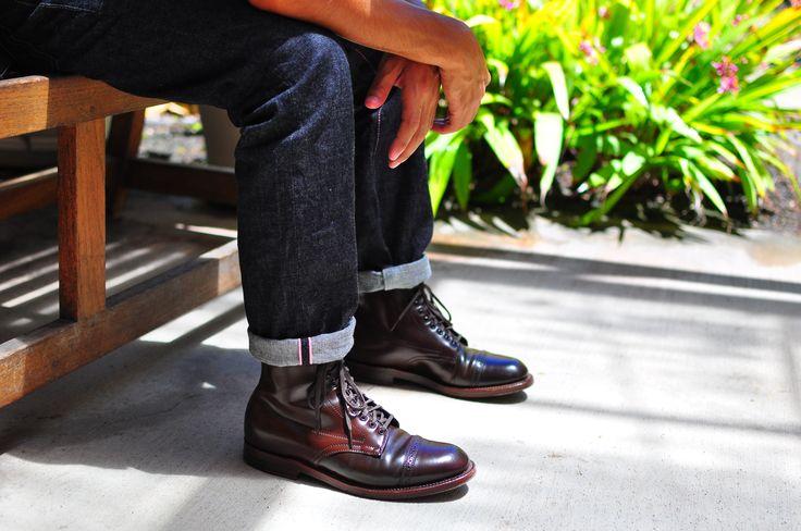 Alden LeatherSoul cigar jumper boots w/ Momotaro jeans ...