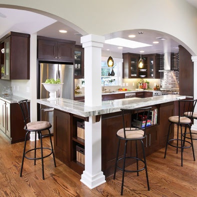 Load Bearing Columns Kitchen Island Design Ideas, Pictures, Remodel, And  Decor