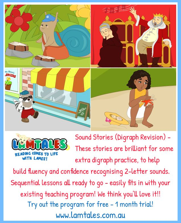 Once your children have mastered the 'Initial Sounds' Sound Stories, they are ready for some Digraph Revision!! These fantastic stories focus on one digraph per story, helping children recognise 2-letter sounds easily. Focused and effective teaching and learning!! www.lamtales.com.au