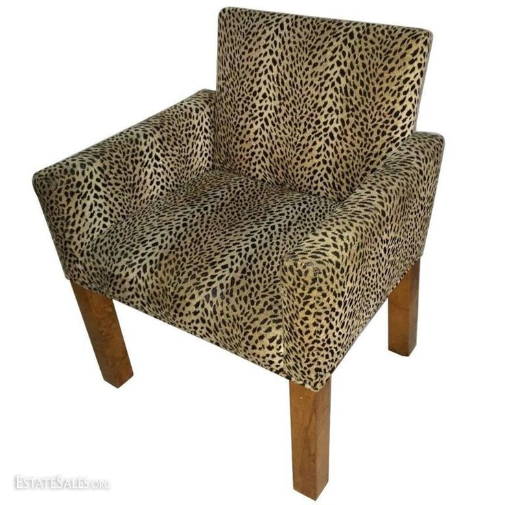Online bidding available! 1930's Style Parson's chair sporting Leopard print fabric. Only one of these fabulous beauties is left in our showroom. Simple chair displaying clean lines retaining function and comfort without...