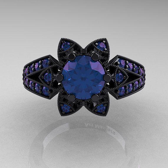 Art Deco 14k oro nero 10 Ct Alessandrite anello di DesignMasters