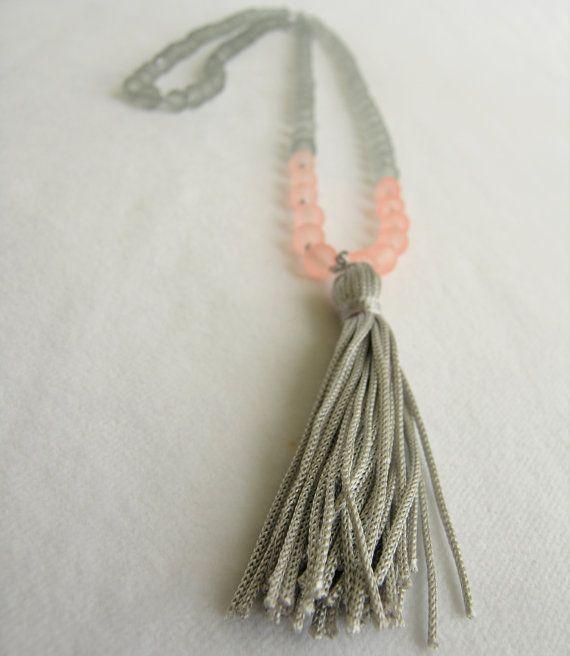 Grey orange tassel necklace Long tassel necklace by GIASEMAKI