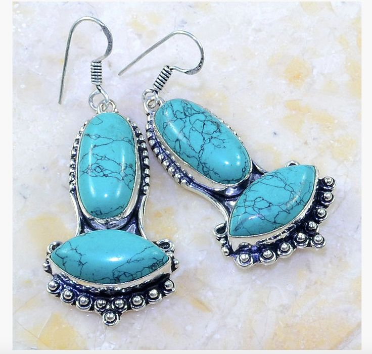 2 Styles: Elegant Blue and Blue-Greenish TURQUOISE (stabilised) Silver-Plated Feminine Earrings! by Ameogem on Etsy