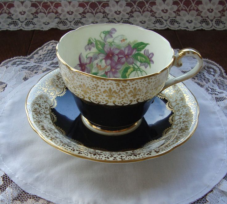 Aynsley - Bone China England - Vintage Scalloped Tea Cup and Saucer - Black Band, Gold Fleur de Lis Scrolls with Violet Bouquet by OfftheShelf2015 on Etsy