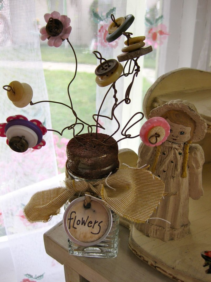 lovely. button wire flowers in mason jar with muslin ties