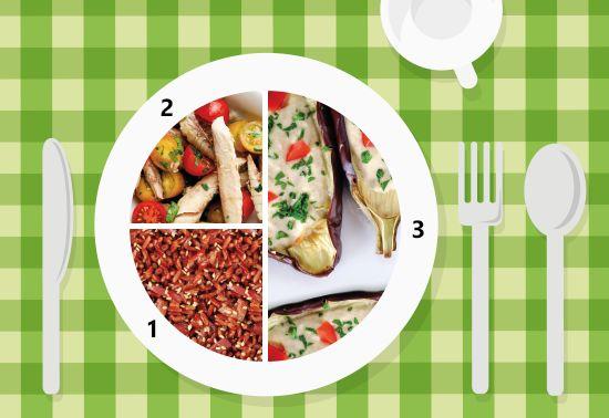 Piatto unico: melanzane ripiene, riso rosso, filetti di sgombro