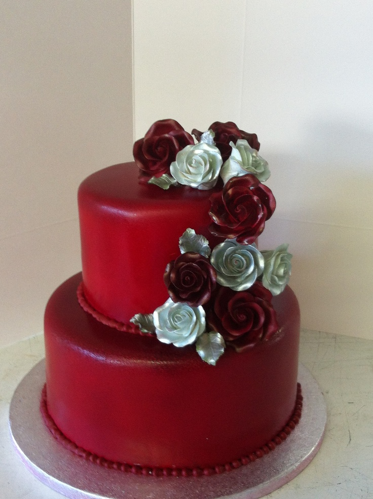 Red And Silver Wedding Cakes