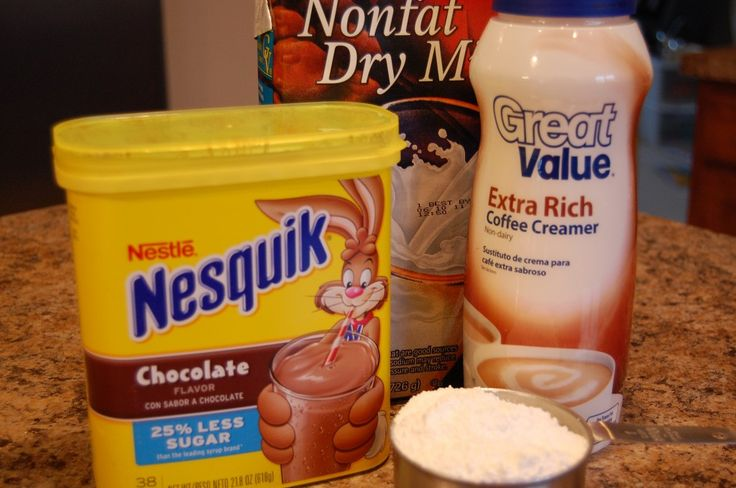 It's really easy to make and you get a lot of mix with one batch.  Here's what you'll need:  4 cups powdered milk  21.8 oz box Nestle's Quik  16oz instant coffee creamer  1 cup powdered sugar  Mix all of this t