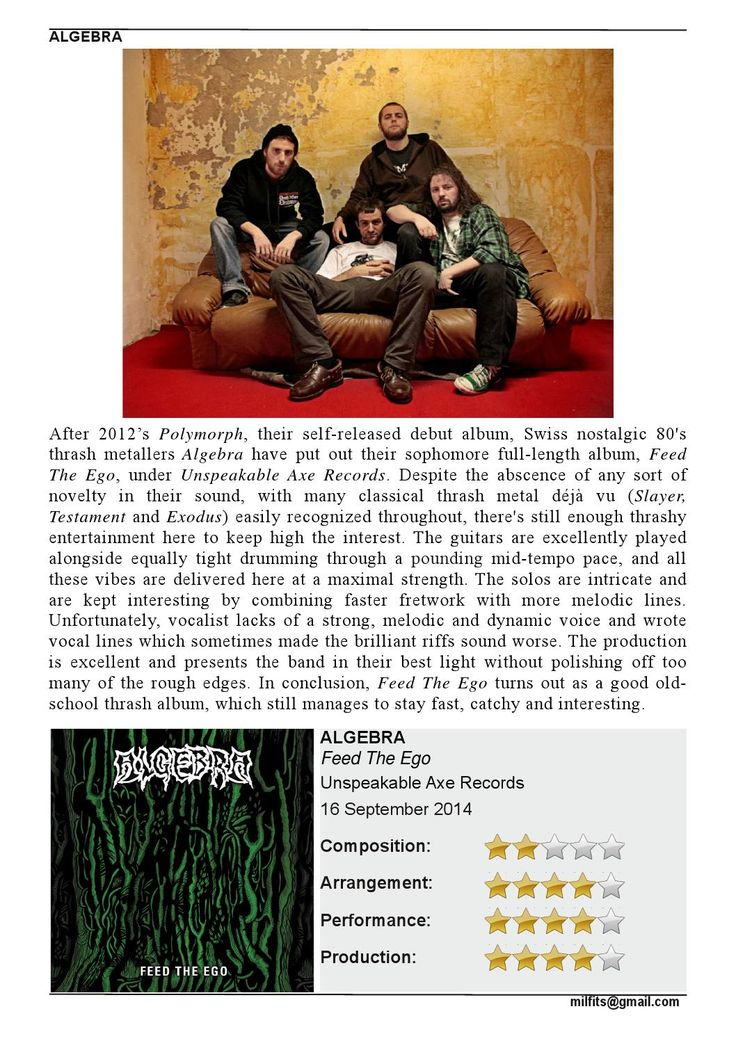 """#ALGEBRA's """"Feed The Ego"""" reviewed on #MILFITS 'zine.Check it out."""