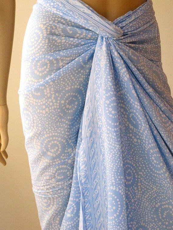 Hand Dyed Pastel Blue Batik Sarong