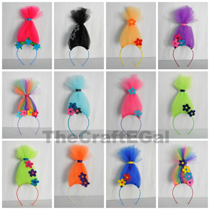 trolls headband party pack pick your pack size crazy troll hair flowered headband. Black Bedroom Furniture Sets. Home Design Ideas
