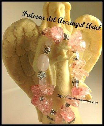 Angel bracelet. Pulsera del Arcangel Ariel-pulsera de los 15 arcangeles-pulsera de sanacion con los arcangeles-figuras con angeles-accesorios con angeles-joyeria de angeles-adornos de angeles-pulsera en cuarzo rosa.http://www.angelesmensajeros.com/joyeria-fina/