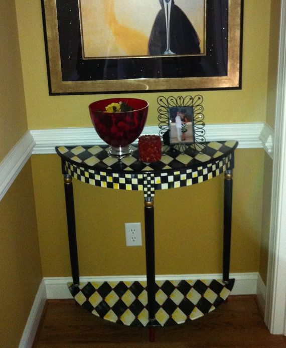 Hand Painted Half Moon/Crescent Table by paintingbymichele on Etsy, $325.00
