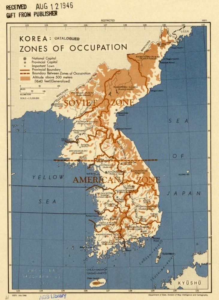 1946 Korea Zones of occupation 1946 CIA declassified map World War 2 ...