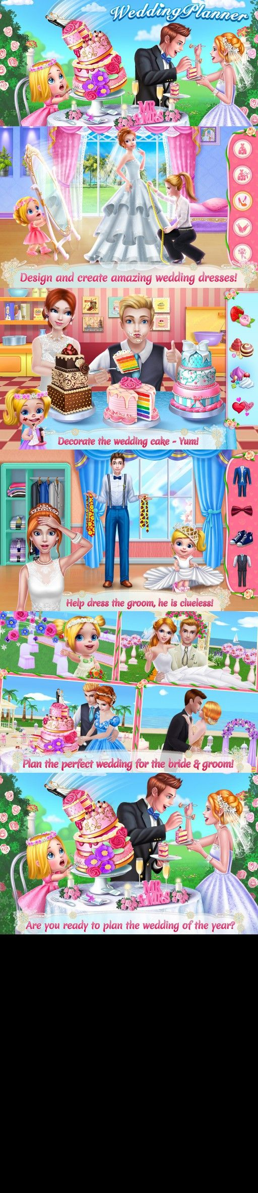 wedding planner dress up makeup cake design game for girls