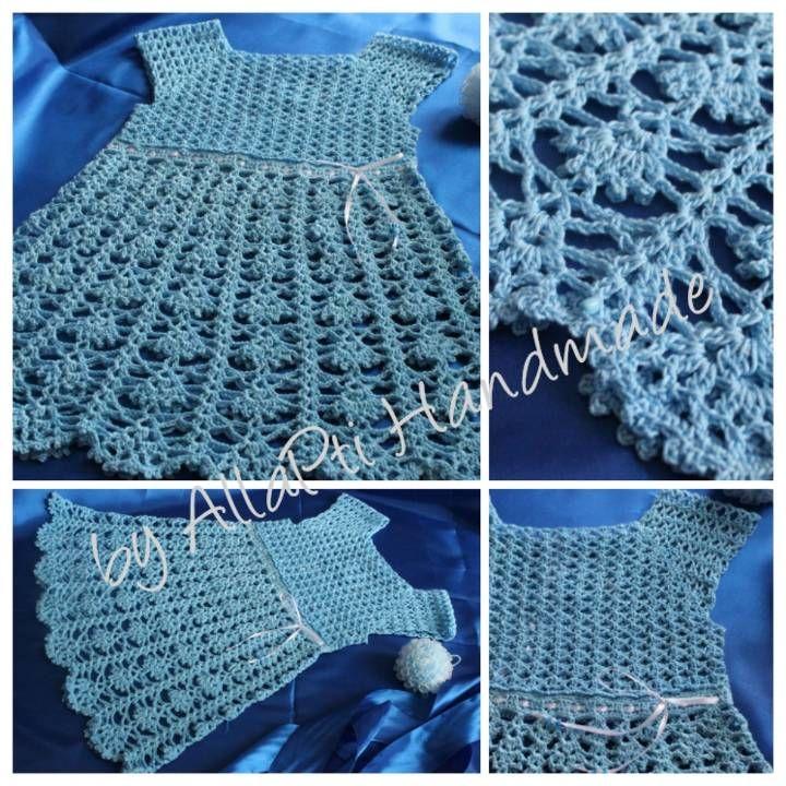 Blue Fairy crocheted dress for little girl ((=><=))