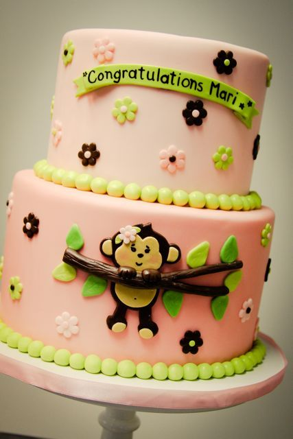 Baby shower cake (yes i know it's pink but colors can be changed) Monkey!Shower Ideas, Monkeys Baby Shower, Baby Cake, Monkey Baby Showers, Girls Baby Shower, Baby Shower Food, Birthday Cake, Monkeys Cake, Baby Shower Cake