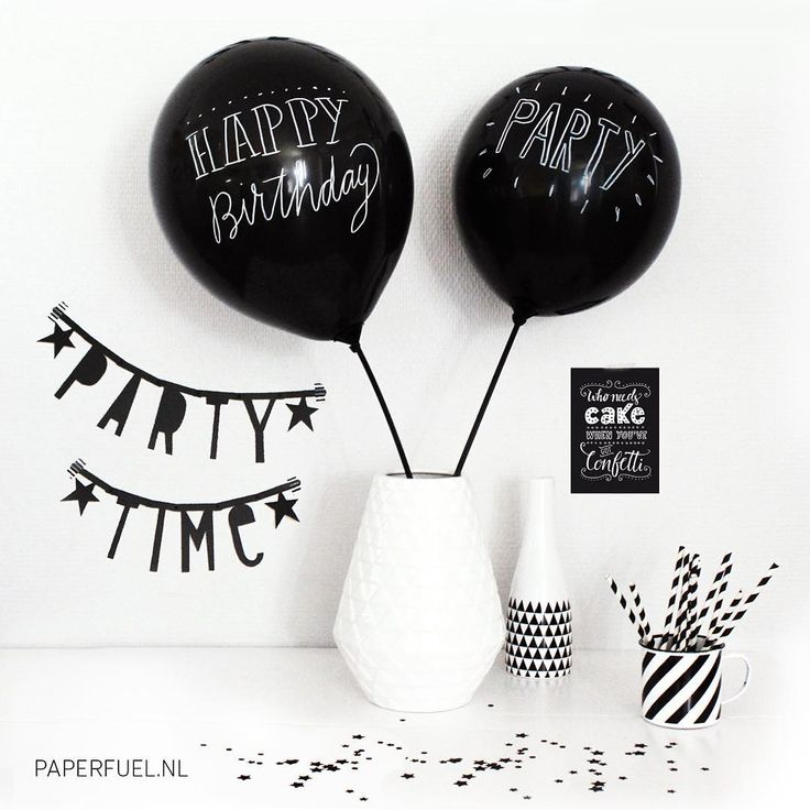 Everything for your black and white party #lettering #balloons #blackandwhite…