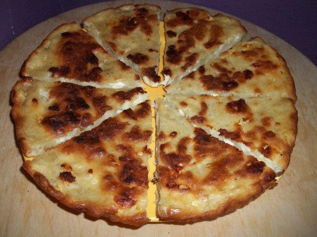 Mokhrakuli Khachapuri--Georgian cheese bread.